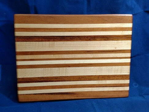 "Cutting Board 18 - 314. Goncalo Alves, Hard Maple & Jatoba. 12"" x 16"" x 1-1/8""."
