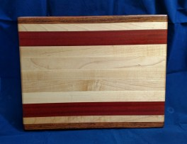 """Cutting Board 18 - 316. Jatoba, Hard Maple & Bloodwood. 12"""" x 16"""" x 1-1/8"""". Edge grain."""