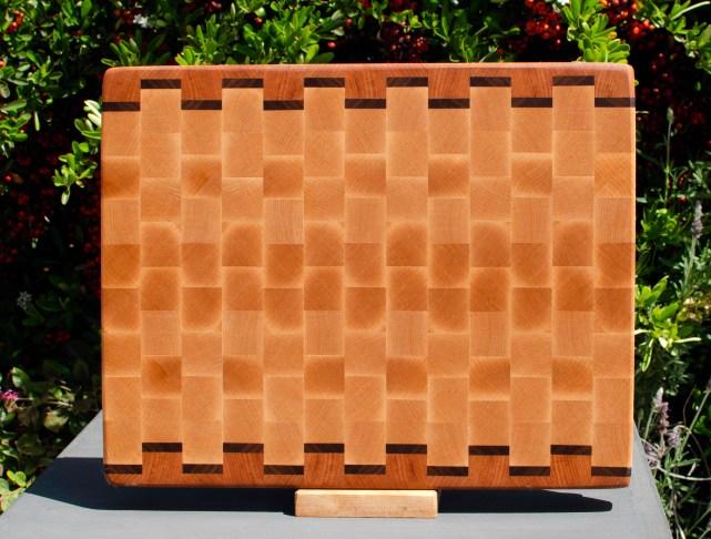 "Cutting Board 18 - 713. Cherry, Black Walnut & Hard Maple. 12"" x 15"" x 1-1/4""."