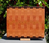 "Cutting Board 18 - 714. Black Walnut & Cherry. End grain. 13"" x 15"" x 1-1/4""."