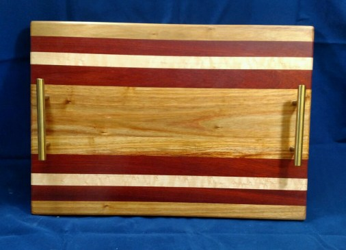 "Serving Tray 18 - 21. Canarywood, Bloodwood & Hard Maple. 12"" x 18"" x 3/4""."