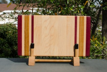 "Small Board 18 - 204. Purpleheart, Hard Maple & Canarywood. 8"" x 12"" x 1-1/4""."