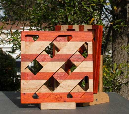 Trivet 18 - 703. Padauk & Hard Maple.