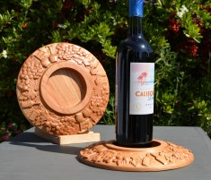 "Wine Bottle Coaster 18 - 501. Cherry. Urethane finish. 9"" diameter."