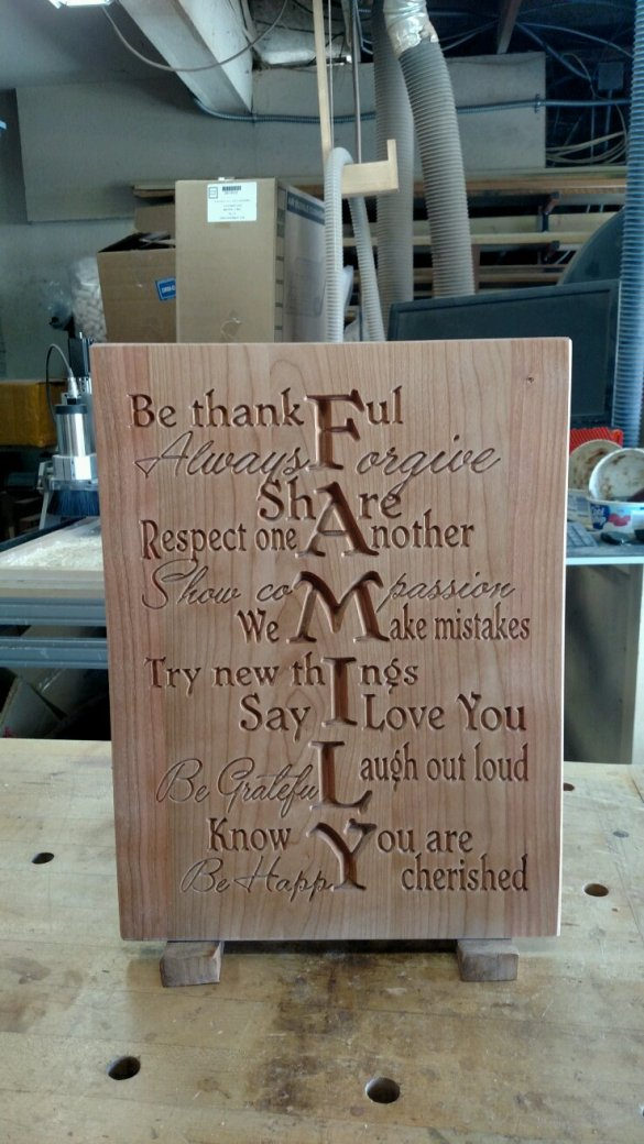 "CNC Sign 18 - 05 - Family. Cherry. 12"" x 16"" x 3/4""."