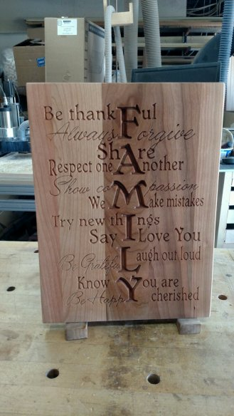 "CNC Sign 18 - 06 - Family. Cherry. 12"" x 16"" x 3/4""."