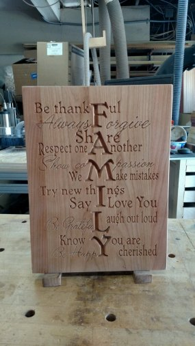 "CNC Sign 18 - 08 - Family. Cherry. 12"" x 16"" x 3/4""."