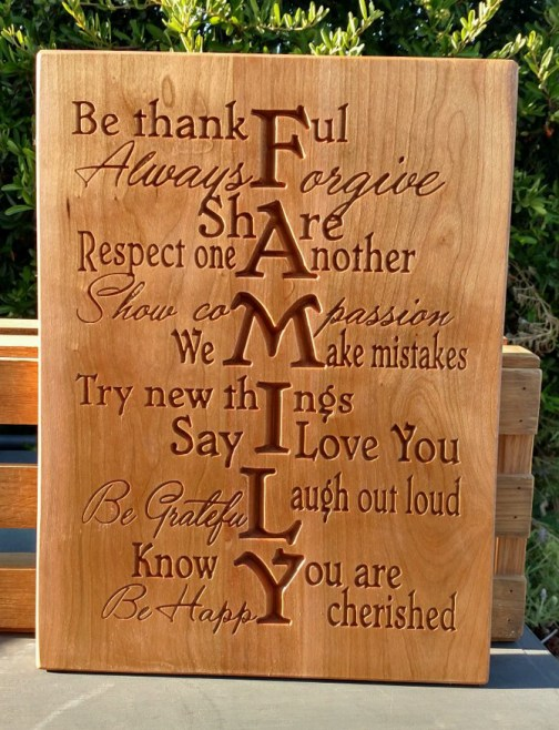 "CNC Sign 18 - 27 Family. Cherry. 12"" x 16""."