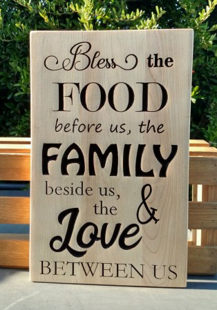 """CNC Sign 18 - 30 Bless The Food. Hard Maple. 10"""" x 14""""."""