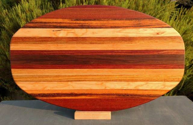 Large Serving Piece 18 - 09. Purpleheart, Goncalo Alves, Hard Maple, Canarywood, Cherry, Bloodwood & Black Walnut.