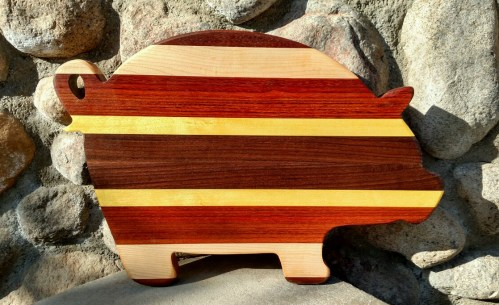 "Pig 18 - 60o. Black Walnut, Hard Maple & Bloodwood, Purpleheart, Yellowheart & Jatoba. 12"" x 20"" x 1-1/4""."