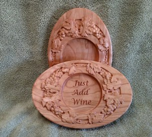 "Wine Bottle Coaster 18 - 503. Cherry. 8"" x 11"" x 1""."
