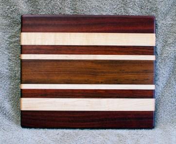 "Cheese Board 18 - 121. Bloodwood, Hard Maple & Jatoba. 8"" x 11"" x 5/8""."