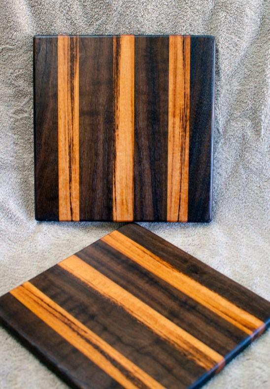 "Cheese Board 18 - 128. Black Walnut & Goncalo Alves. 10"" x 11"" x 5/8""."