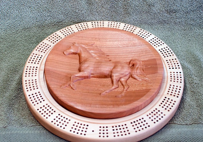 Cribbage 18 - 01. Hard Maple Bottom, Cherry 3D carved top.