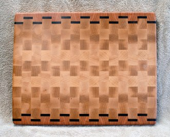 "Cutting Board 18 - 722. Hard Maple, Black Walnut & Cherry. 13"" x 17"" x 1-1/4"". End Grain."
