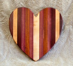 "Heart 18 - 929. Jatoba, Hard Maple, Purpleheart & Bloodwood. 11"" x 11"" x 3/4""."