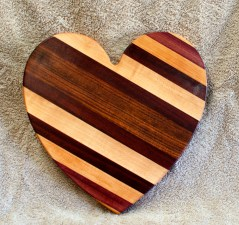 "Heart 18 - 931. Jatoba, Hard Maple, Purpleheart, Cherry & Bloodwood. 11"" x 11"" x 3/4""."