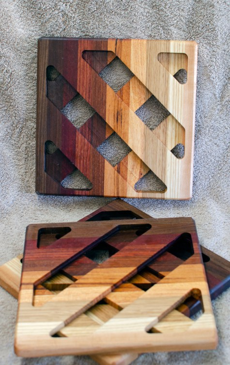 Trivet 18 - 732. Black Walnut, Purpleheart, Jatoba, Bloodwood, Goncalo Alves, Mesquite, White Oak & Hard Maple.