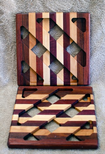 Trivet 18 - 735. Purpleheart, Jatoba, Hard Maple & Bloodwood.