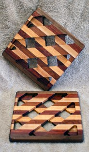 Trivet 18 - 737.Black Walnut, Purpleheart, Hard Maple & Jatoba.