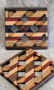 Trivet 18 - 739. Black Walnut, White Oak, Padauk & Hard Maple.