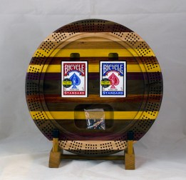 Cribbage 18 - 34. Black Walnut, Cherry, Yellowheart, Purpleheart and Bloodwood. 4 track bottom.