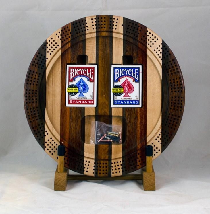 Cribbage 18 - 41. Merbau, Hard Maple, Canarywood, Black Walnut & Bloodwood. 4 track board bottom.