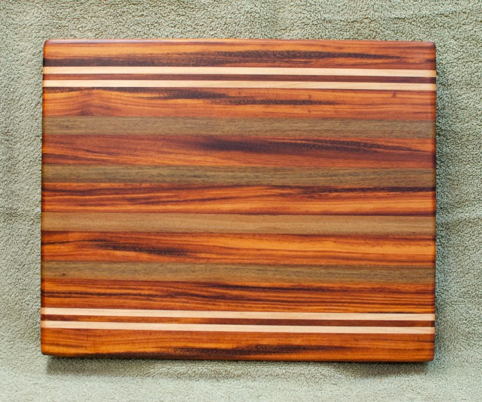 "Cutting Board 18 - 328. Goncalo Alves, Hard Maple, Black Walnut & Jatoba. 13"" x 16"" x 1-1/8""."