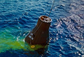 The capsule splashed down in the Atlantic Ocean. The green dye was intended to aid in recovery in case the capsule sank.