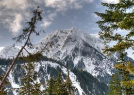 The Tatoosh Range, half the size of Rainier and a dozen times older, can also make for breathtaking photography. This image of Eagle Peak in the snow, beautifully framed and photographed by Jill Foster on March 4, 2012. Posted by the US Department of the Interioir, 3/31/14.
