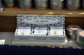 Lip balms, in a 3-compartment display.