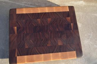 "# 55 Cutting Board, $85. 14-1/2"" x 11-5/8"" x 1-3/8"". End Grain. Hard Maple & Walnut."