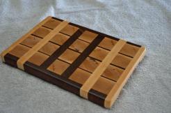 "# 31 Cutting Board, $40. Hard Maple and Black Walnut end grain board. 11-3/4"" x 8"" x 1""."