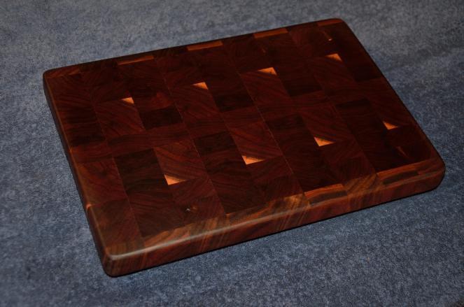 """# 21 Cutting Board, $50. End grain. Black walnut. 14"""" x 10"""" x 1-1/2""""."""