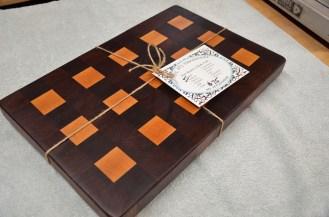 "The ""3x5"" board. 12"" x 16"" x 1-1/2"". Black Walnut and Hard Maple end grain."