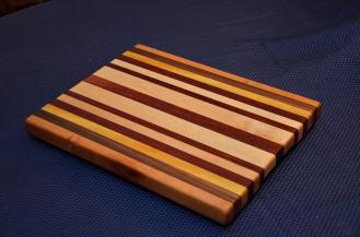 "Cutting Board # 15 - 035. Cherry, Black Walnut, Yellowheart, Jarrah and Hard Maple Edge Grain. 12"" x 16"" x 1-1/4""."