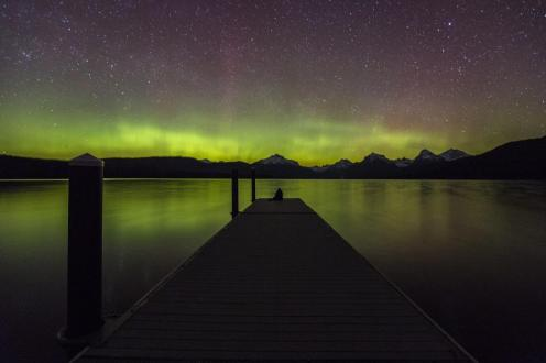 The Northern Lights put on a show over Montana's Glacier National Park. Photo by Jacob Frank. Tweeted by the US Department of the Interior, 4/20/15.