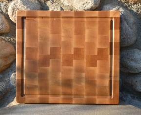 "Cutting Board 15 - 046. Hard Maple end grain with juice groove. 12"" x 14"" x 1-1/4""."