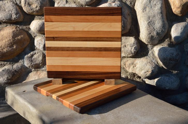 "Cheese Board # 15 - 022. Black Walnut, Cherry & Hard Maple edge grain. 10"" x 12"" x 1""."