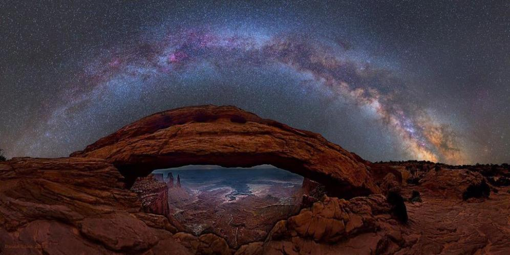 The Milky Way over Mesa Arch in Utah's Canyonlands National Park. Photo by David Lan. Tweeted by the US Department of the Interior, 9/3/15.