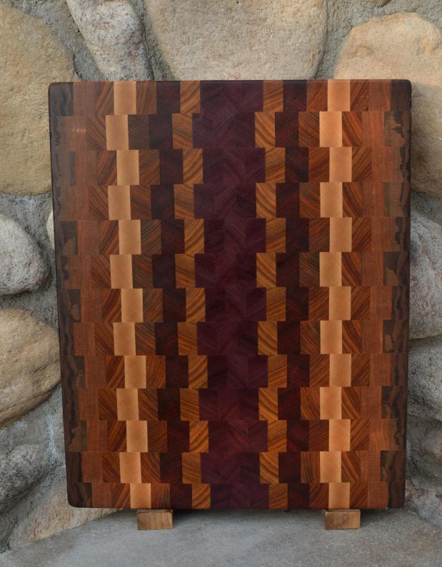 "Cutting Board # 15 - 077. Black Walnut, Cherry, Canarywood, Teak, Hard Maple, Jatoba & Purpleheart. End Grain. 13"" x 18"" x 1-1/4""."