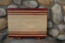 "Cutting Board # 15 - 102. Purpleheart & Hard Maple. Edge Grain. 12"" x 16"" x 1-1/4""."
