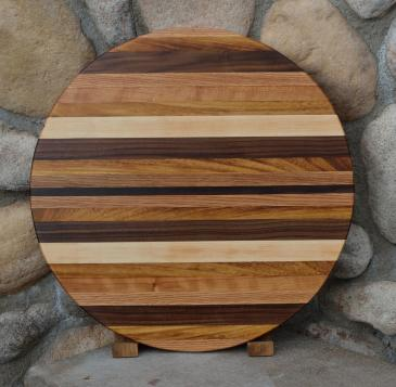 "Lazy Susan # 15 - 016. Red Oak,x Teak, Black Walnut & Hard Maple. 19"" diameter x 3/4""."