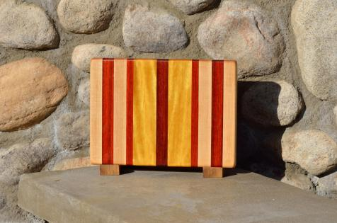 "Small board # 15 - 057. Hard Maple, Padauk & Yellowheart. Edge grain. 11-1/4"" x 8-1/4"" x 1""."
