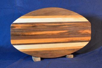 "Surfboard 15 - 31. Black Walnut, Cherry, Hard Maple & Goncalo Alves. 12"" x 19"" x 1-1/4""."