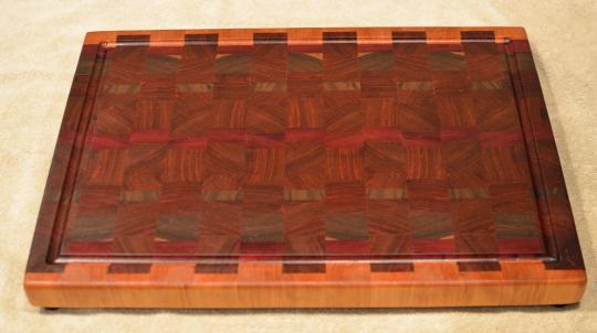 "Cutting Board # 15 - 088. Cherry, Black Walnut, Purpleheart & Jatoba. End Grain with Juice Groove. 16"" x 20"" x 1-1/2""."