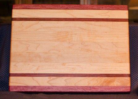"Cutting Board 16 - Edge 005. Purpleheart & Hard Maple. Edge Grain. 12"" x 16"" x 1-1/4""."
