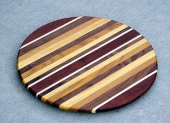 "Lazy Susan 16 - 001. Jatoba, Hard Maple, Black Walnut, Teak, Yellowheart & Canarywood. 15-3/4"" diameter."