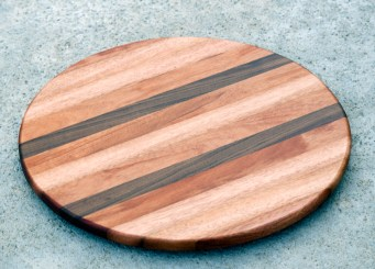 "Lazy Susan 16 - 002. Mahogany & Black Walnut. 17-1/2"" diameter."